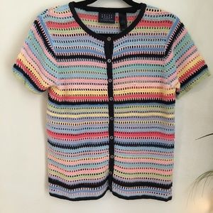 Vintage Short Sleeve Knit Striped Cardigan Sweater